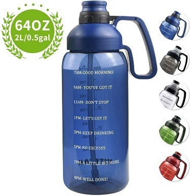 9 64 OZ Water Bottle with Straw