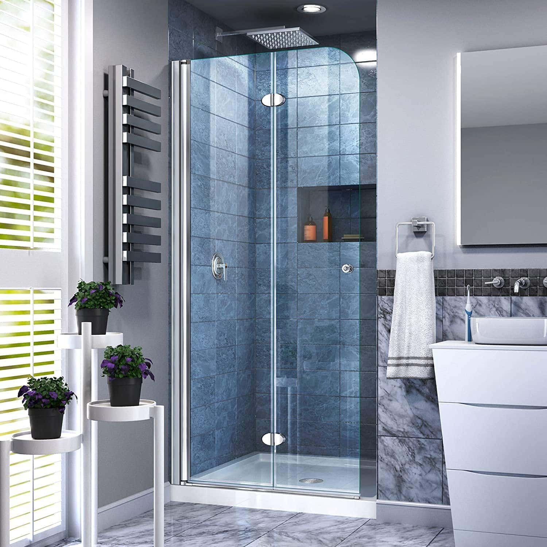 DreamLine Aqua Fold 33 1:2 in. W x 72 in. H Frameless Bi-Fold Shower Door