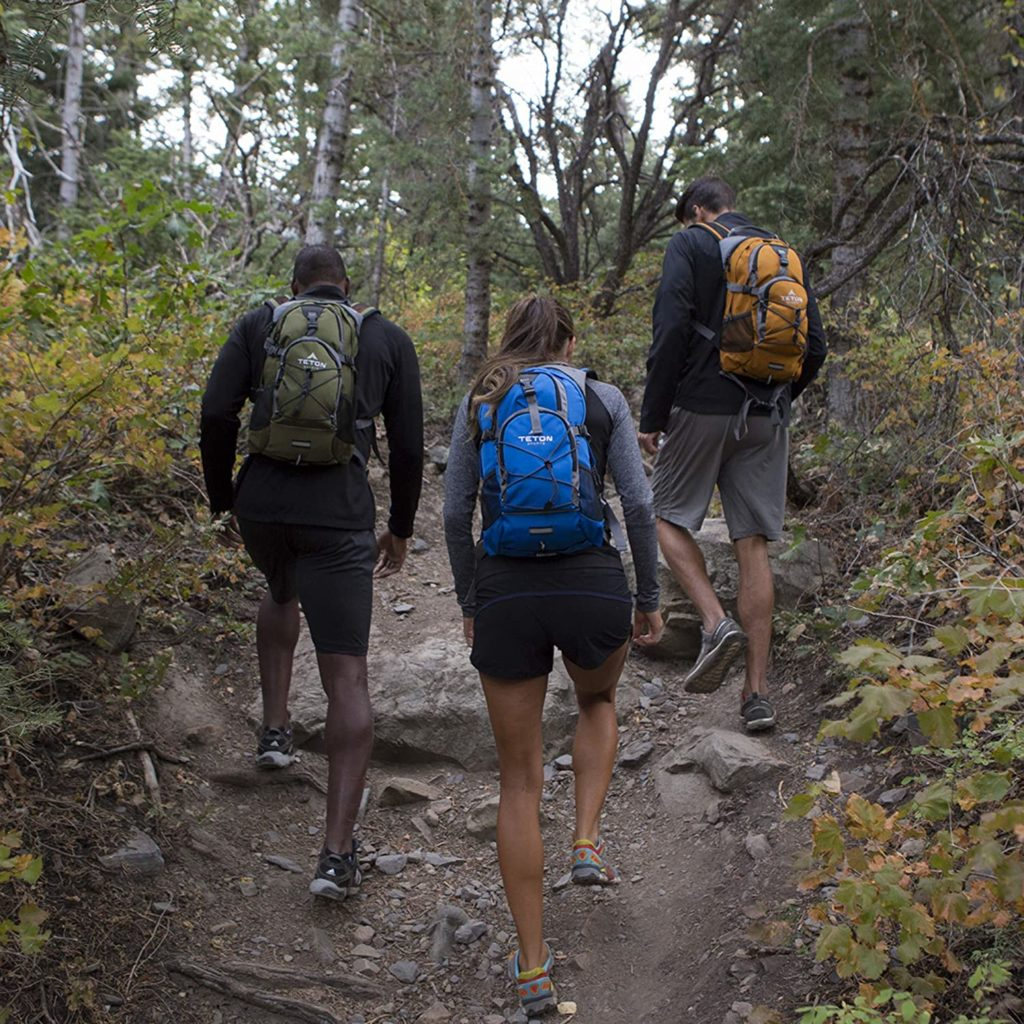 Using a hydration pack while hiking