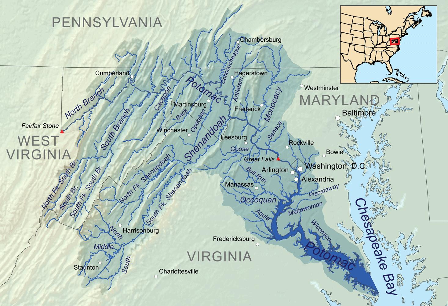 Potomac watershed map