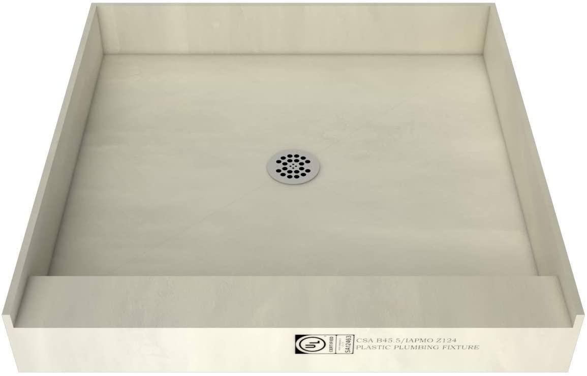 Tile Redi 4848C-PVC Single Curb Shower Pan one piece drain