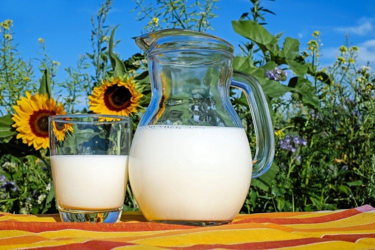 milk and milk jug blue sky
