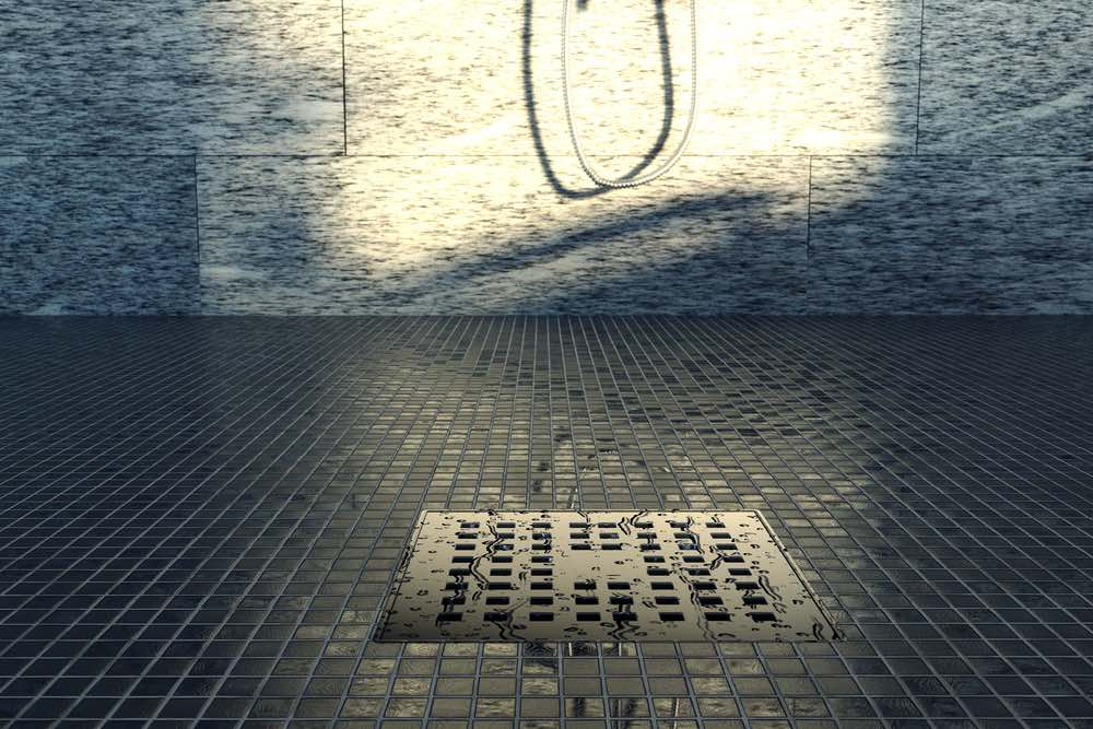 tiled shower with drain